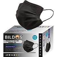 Bildos® Non-Woven Fabric 3 Layer Disposable Surgical Face Mask With Nose Clip CE, GMP, FDA & ISO Certified Masks (Black…