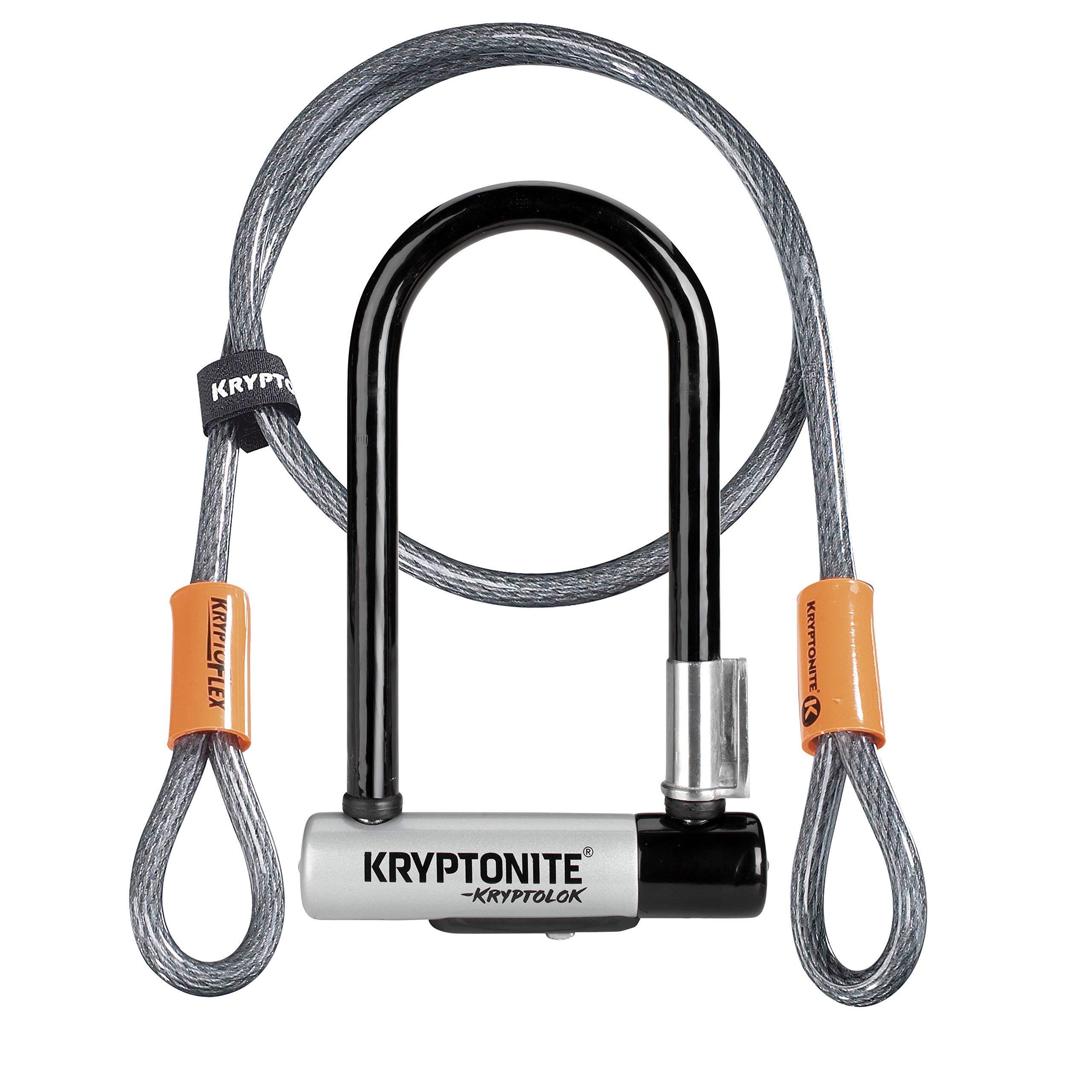 Kryptonite KryptoLok Mini-7 mit KFlex 120cm Fahrradschloss, Silver, 120 cm