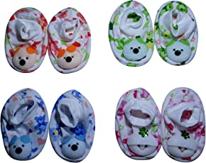 Honey's Cotton New Born Baby Booties, Multicolour (0-6 Months) - Pack of 4 Pair