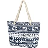Taumie Große Strandtasche mit Reißverschluss, Damen XXL Familie Segeltuch Umhängetasche, Shopper Schultertasche Beach Bag, So