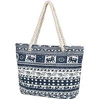 Taumie Große Strandtasche mit Reißverschluss, Damen XXL Familie Segeltuch Umhängetasche, Shopper Schultertasche Beach…