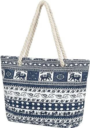Taumie Große Strandtasche mit Reißverschluss, Damen XXL Familie Segeltuch Umhängetasche, Shopper Schultertasche Beach Bag, Sommer Schwimmbad Badetasche, für Reisen, Strand (Kokosnussbaum)
