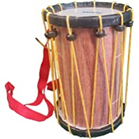 Indian Made Kids Drum Musical Toy (Chenda, Dhol) with Sticks and Hanging Thread - Small Size