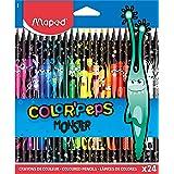 MAPED Color'Peps Monster-24 Coloriage Fun et Originaux-Couleurs Vives et Mine Résistante-Pochette de 24 Crayons Décorés MONST