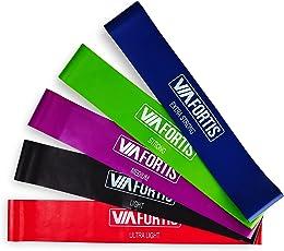 VIA FORTIS Premium Loop Band Set – 5 Fitnessbänder mit praktischer Tasche – Gymnastikbänder für Yoga, Pilates, Reha-Sport, Physio und mehr – Resistance Band/Widerstandsband in 5 Stärken