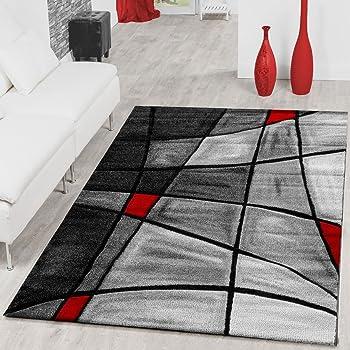 7a8057ed4b9f09 T T Design Teppiche Wohnzimmer Teppich Porto Konturenschnitt in Grau Rot  Schwarz Ausverkauf