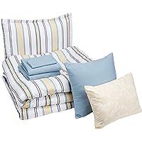 AmazonBasics 8-Piece Comforter Bedding Set, Twin / Twin XL, Blue and Tan Stripe, Microfiber, Ultra-Soft