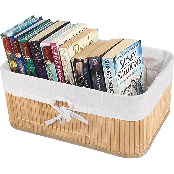 HomeStorie® Eco-Friendly Foldable Natural Bamboo Storage Basket Bins Organizer