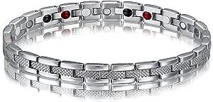 SSC, bracciale magnetico, in acciaio chirurgico inossidabile 316L, di colore argento lucido/opaco, calamita 2000+ Gauss, ideale come regalo [SSC 177]