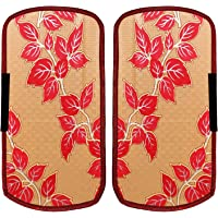 Heart Home Leaf Design PVC 2 Pieces Fridge/Refrigerator Handle Cover (Gold & Red) CTHH5392, Standard
