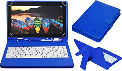 ACM USB Keyboard Case for Lenovo Tb-X103f Tablet Cover Stand with Free Micro USB OTG - Blue