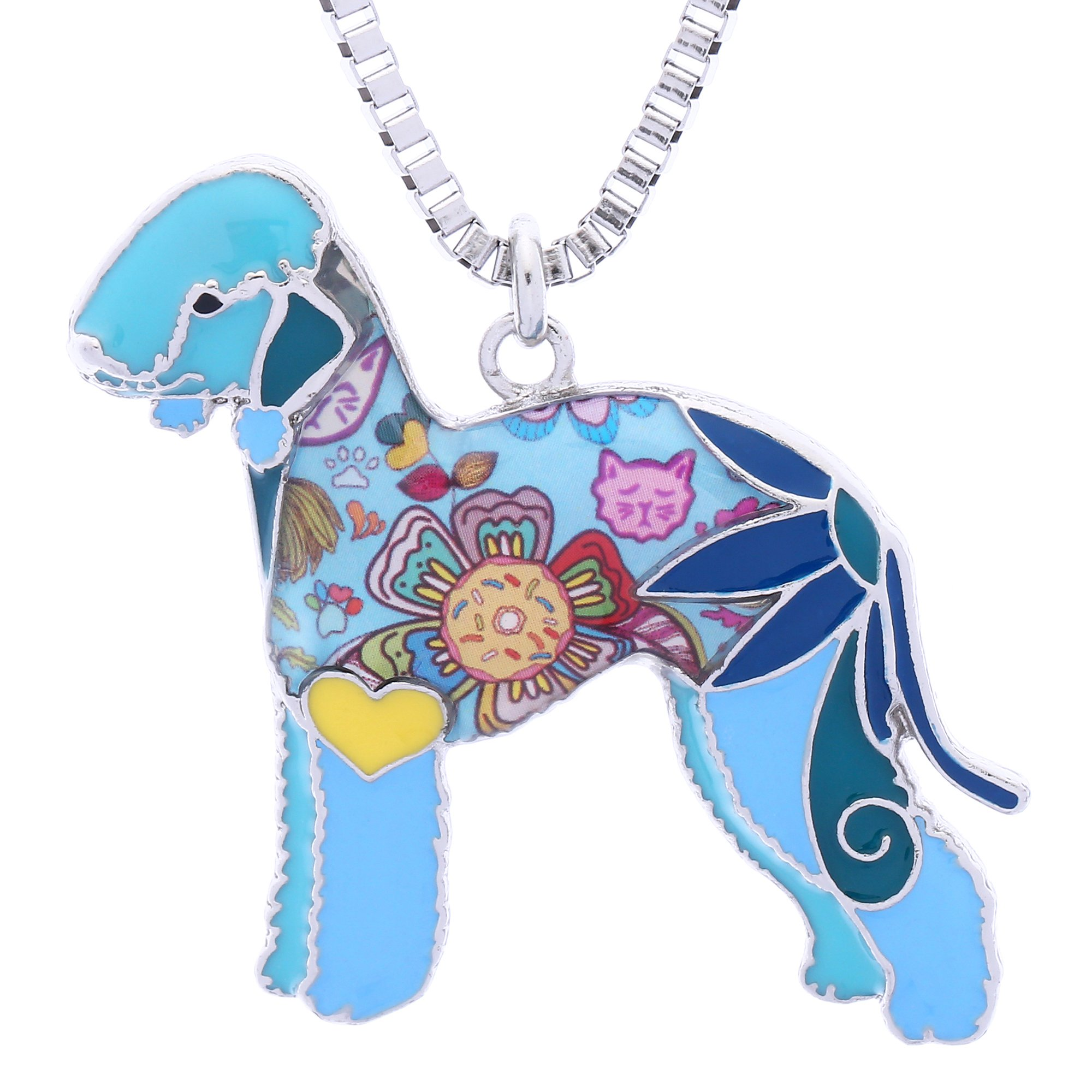Luckeyui Bedlington Terrier Gifts for Women Personalized Pets Dog Necklaces & Pendants Jewelry