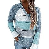 BLENCOT Felpa Donna con Zip Felpe in Cotone Donna Felpa Pullover Multicolore Maglia a Manica Lunga Autunno Felpa Sportiva Rag