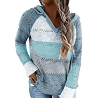 Aleumdr Pullover Donna Felpa con Cappuccio Maglione Maniche Lunghe Maglieria Tops Sweatshirt Autunno Inverno Pullover…