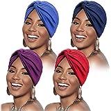 SATINIOR - Cappello turbante da donna, in cotone, morbido, pre-legato, pieghettato, alla moda, 4 pz, 4 colori assortiti