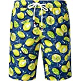 JOGAL Men's Fun Fruit Printed Flat Front Casual Beach Aloha Hawaiian Shorts