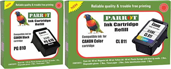 Parrot Ink Cartridge Refill for Canon Pixma PG 810 Black and CL 811 Color, Combo