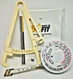 SRKC Fat Caliper BMI Calculator, Body Measure Tape with 60 Day Gym Training Nutrition Pocket Guide Booklet, Yellow