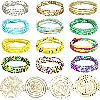 HICARER 16 Pezzi Catene con Perline in Vita Perline Africani Elastici Estivi di Pancia Gioielli Colorati per Donne