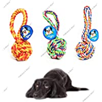 Petlicious & More Cotton Chew Ball Dog Rope Puppy Rope Toys Teething Toy for Dogs(Colour May Vary)