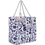 Große Strandtasche mit Reißverschluss 58 x 38 x 18 cm maritimes Design Schiff weiß blau rot Shopper Schultertasche Yacht Styl