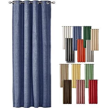 gardine blickdicht senschal in blau 50 baumwolle in gewebter karo optik uni hxb 260x140. Black Bedroom Furniture Sets. Home Design Ideas