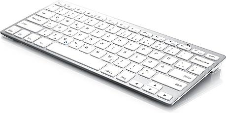 CSL - Bluetooth Slim Tastatur/Wireless Keyboard im Slim-Design | QWERTZ-Layout (Deutsch) | Multimedia Keys | Stand-By-Modus | Microsoft Windows/Google Android/Apple iOS + Mac OS X | silber