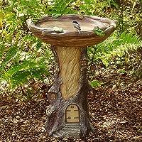 ZLHW Souche d'arbre miniature de maison de fée, paysage de jardin d'aspect bois peint à la main, bain d'oiseau d…