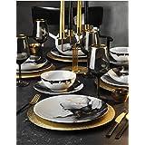 Service de table 24 pièces en porcelaine pour 6 personnes, assiettes creuses, assiettes plates, assiettes à dessert et bols,