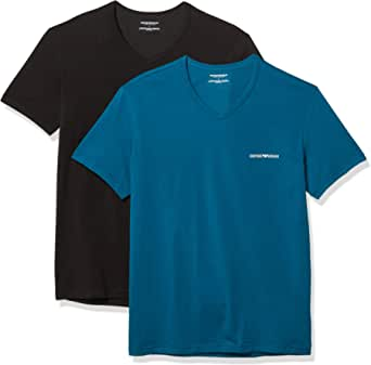 Emporio Armani 2-Pack Stretch Cotton V-Neck T-Shirt, Baltic/Black Baltic/Black