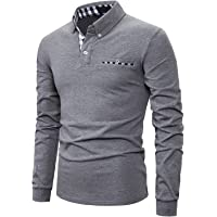IVAN-LI Men's Casual Polo Shirts Long Sleeve Striped Collar T-Shirts with Pocket