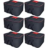 Storite Nylon 6 Pack Big Underbed Storage Bag Moisture Proof Cloth Organizer with Zippered Closure and Handle (BlackRed, 54x46x28cm)