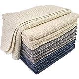 Polyte Premium Microfibre Kitchen Dish Cloth Waffle Weave (Dark Blue, Gray, Off White, 30x30 cm) 12 Pack