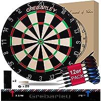 Grebarley Dartscheibe Kork Dartscheibe mit Pfeilen Offizielles Turniermaß Dart Scheibe Dartboard Steeldartscheibe…