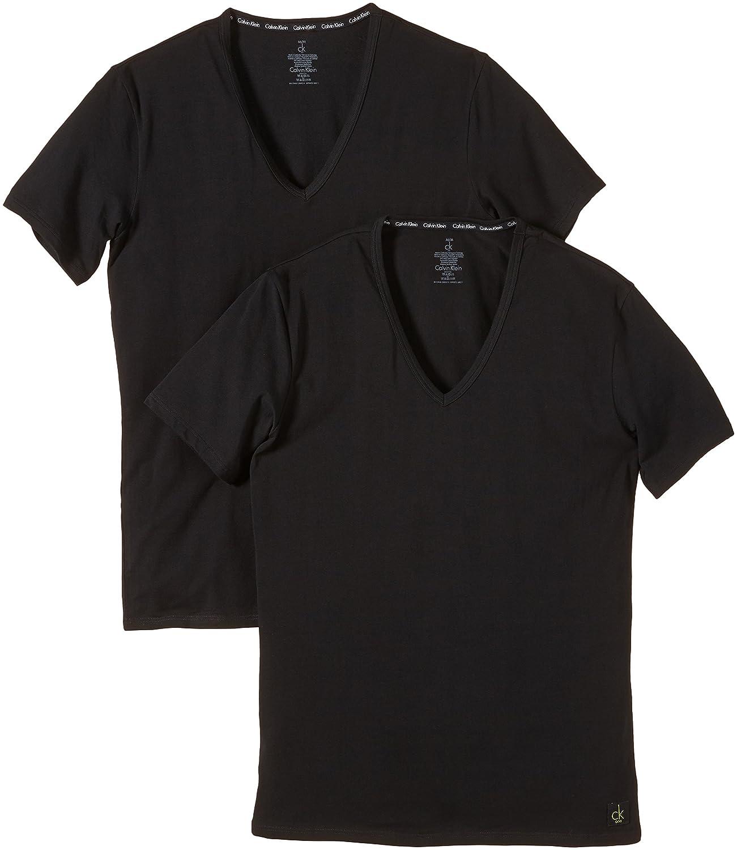 Black t shirt white collar - Calvin Klein V Necks 2er T Shirt White Amazon Co Uk Sports Outdoors