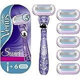 Gillette Venus Swirl Rasoio Donna + 6 Lamette da Ricarica Con Technologia con FlexiBall, Pacchetto Speciale