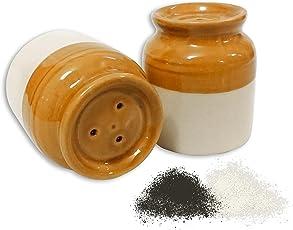 MC SID RAZZ Ceramic Salt and Pepper Dispenser, Set of 2, Multicolour