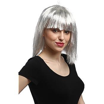 WIG ME UP ® - 90658-ZA68-argento Parrucca Donna Carnevale Halloween Altezza  Spalle Frangetta Liscia Argento Grigio con Strass Fili Argentati Disco  Cyborg 6895cefca660