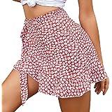 Yisism Womens Floral Print Wrap High Waist Asymmetrical Ruffle Hem Mini Skirt