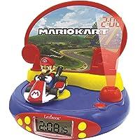 Lexibook- Réveil Projecteur pour Enfants Mario Kart-Nintendo-avec Veilleuse et Projection de l'heure au Plafond, Effets…