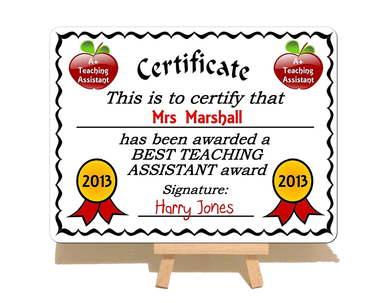 Personalised Best Teacher Award Metal Certificate Plaque Sign ...