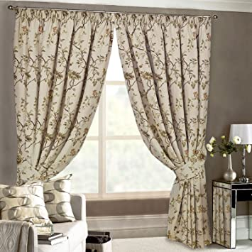 Just Contempo Tapestry Pencil Pleat Curtains, Beige, 66x54 inches ...