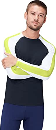 Activewear Men's Sports Top Sim Fit with Contrast Sleeve Panelling