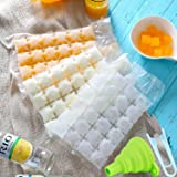 50PCS Disposable Ice Cube Bags (1200 Ice Cubes)Stackable Easy Release Ice Cube Mold Trays with Folding Funnel and U-Shaped Sc