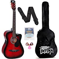 Intern INT-38C Acoustic Guitar Kit, With Bag, Strings, Pick And Strap, Red