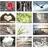Edition Seidel Set 12 einfühlsame Premium-Trauerkarten/Beileidskarten mit Umschlag. Trauerkarte Beileidskarte mit Spruch (Dop