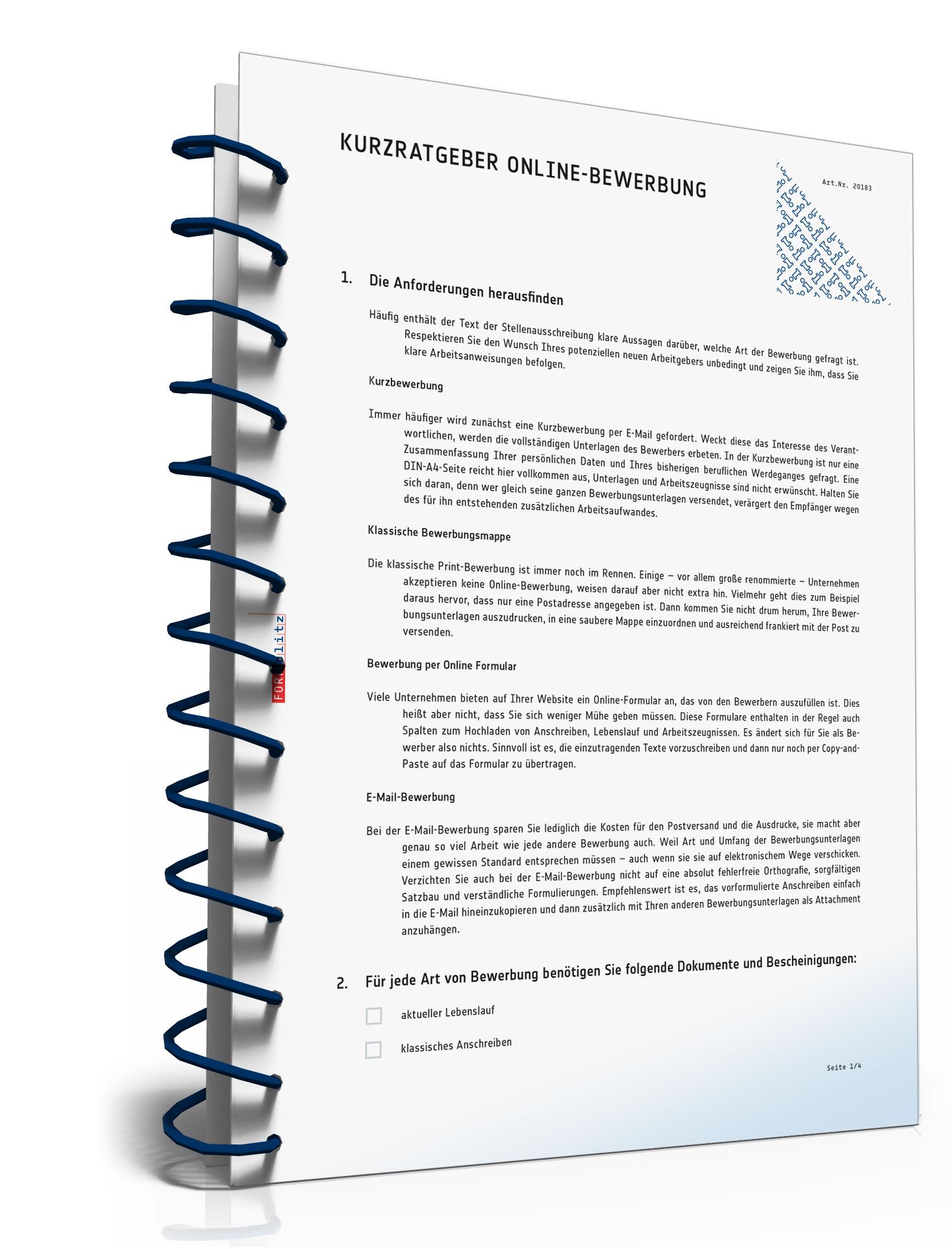 Kurz-Ratgeber Online-Bewerbung [PDF Download] [Download]