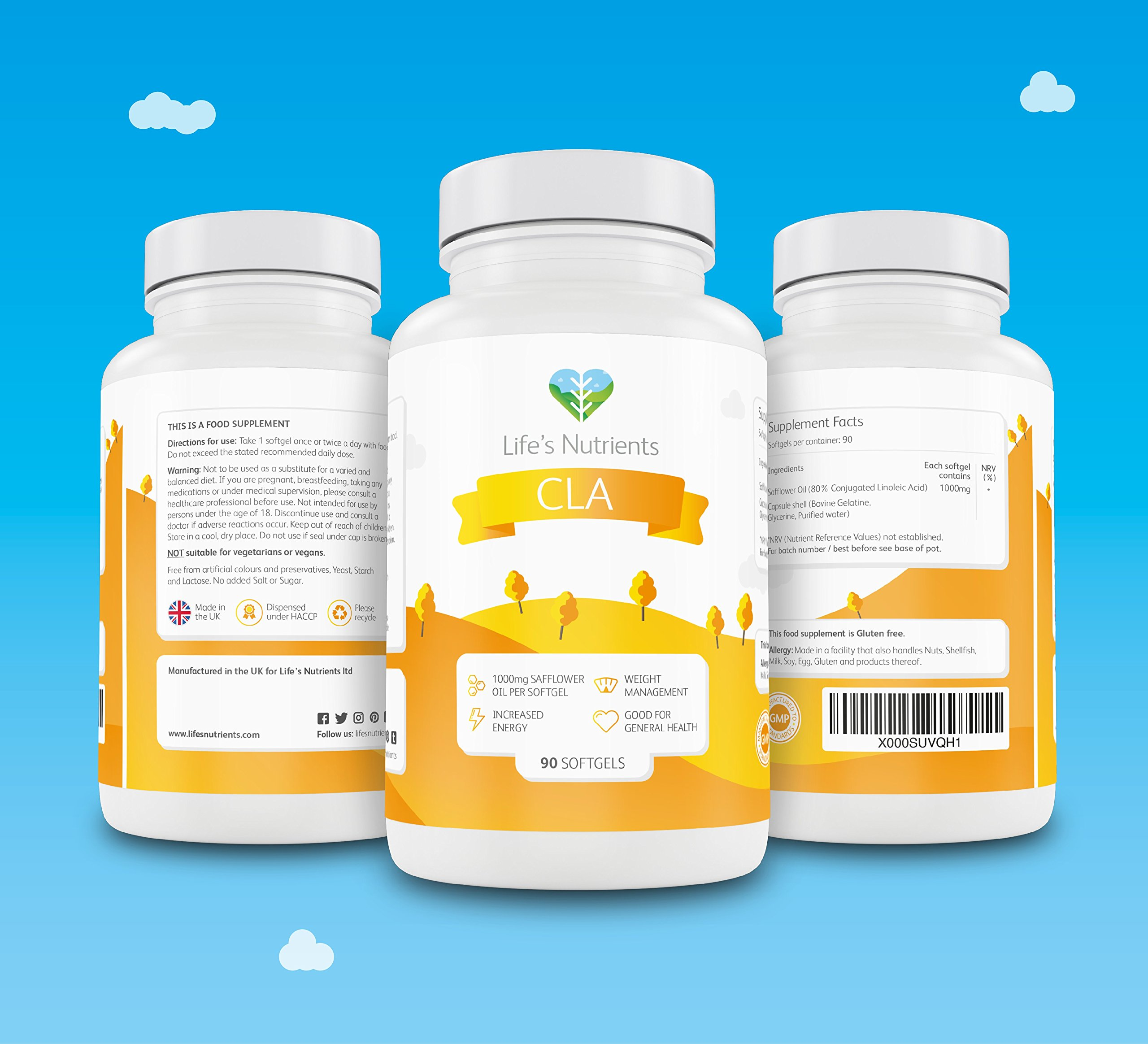 81C3RmUADzL - CLA Providing 1000mg   90 softgels   Natural Fat Burner and Muscle Mass Builder   Conjugated Linoleic Acid   Manufactured in The UK