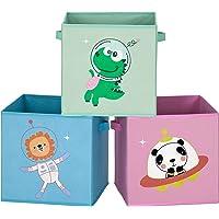 SONGMICS Boîtes de Rangement pour Enfants, Lot de 3, Paniers à Jouets, Pliables, avec poignées, Chambre d'enfant, Salle…