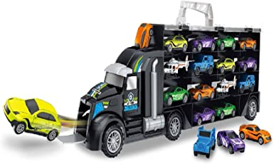 Toys Bhoomi 2 in 1 Bring Along Huge Transport Car Long Haul Model Carrier Truck Case Kids Toys Set with 12 Vehicles - Stores Upto 28 Cars